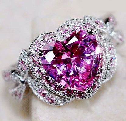 Infinity Knot Pink Sapphire Heart Ring