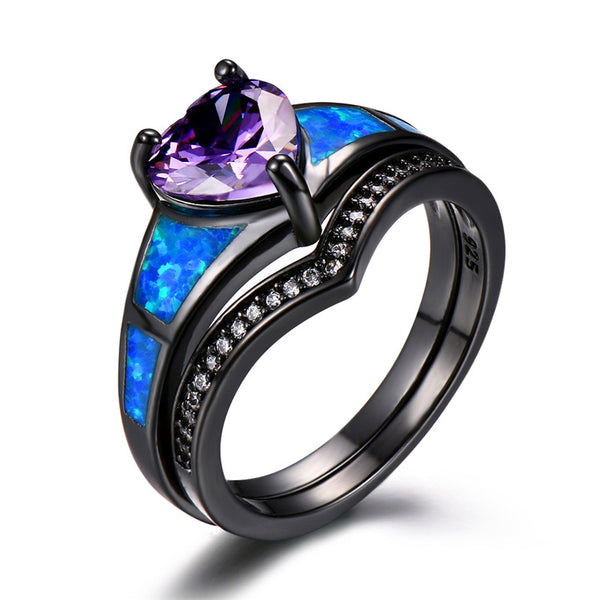 Royal Purple Dual-Set Heart Ring