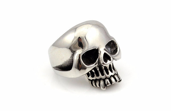 Biker's Smooth Stainless Steel Skull Ring