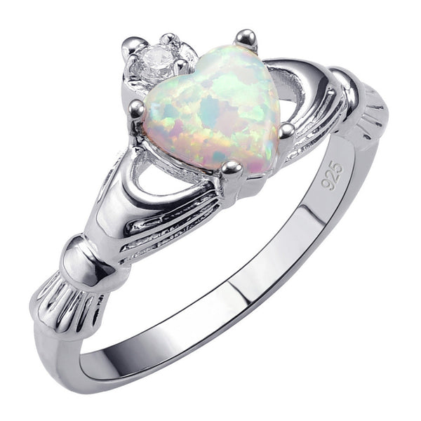 Claddagh October Birthstone Opal Ring