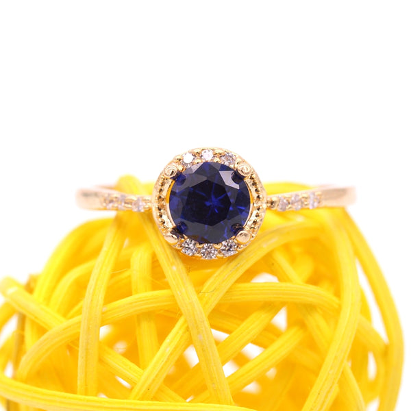 September Blue Sapphire & Gold Birthstone Ring