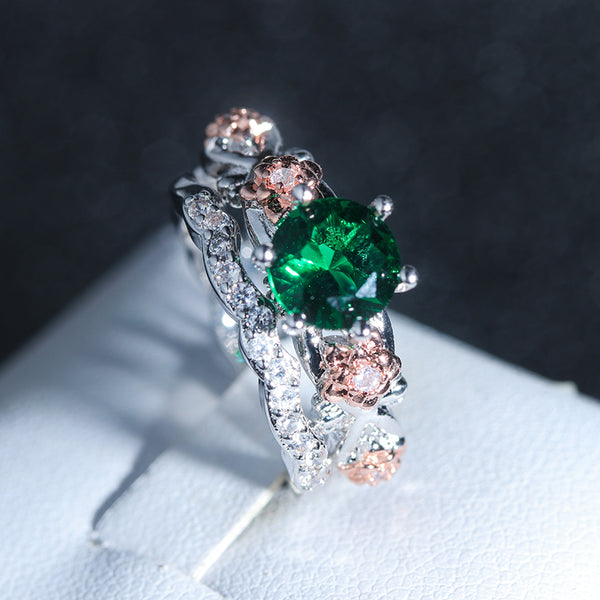 May Floral Rose Birthstone Ring
