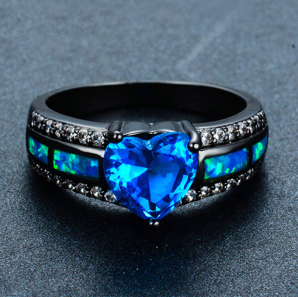 Blue Topaz November Heart Birthstone Ring