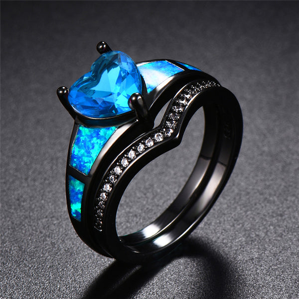 September Dual Set Black Gold Heart Birthstone Ring