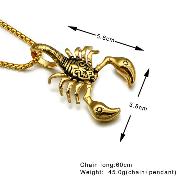 Stainless Steel American Style Scorpion Pendants Necklaces for Men Jewelry