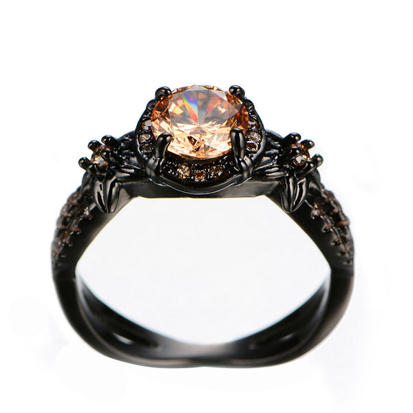 Black Gold Filled Citrine November Birthstone Ring
