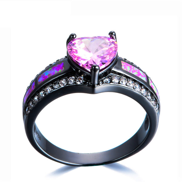 Pink Sapphire Black Gold Filled Heart September Birthstone Ring