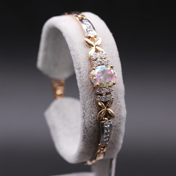 November Birthstone Rainbow Topaz Gold Bracelet