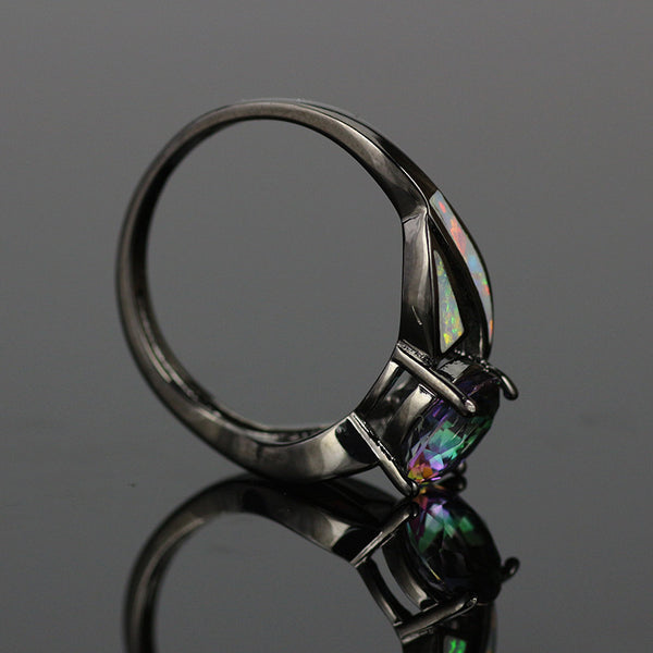 Mystic Fire Opal accented November Birthstone ring