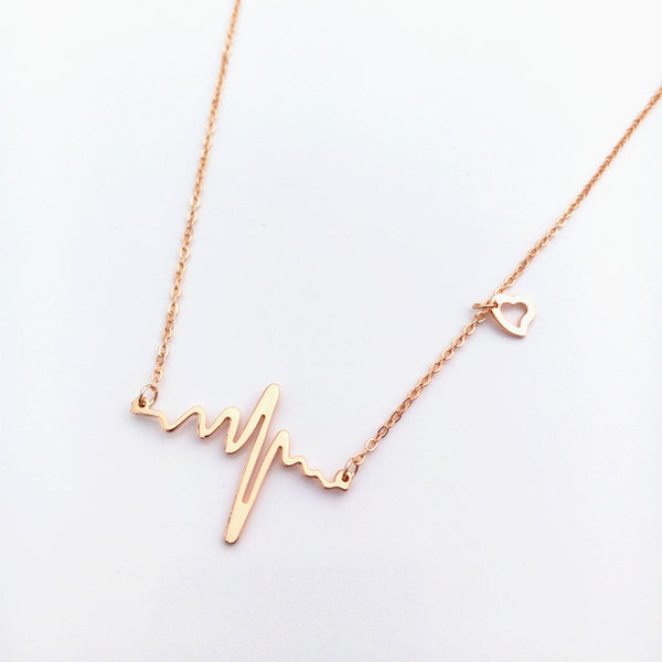 18k Gold Plated Stainless-steel Heart Beat Love Cardiogram Necklace
