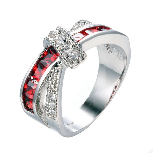 Thin Red Line Cross-Finger Ring