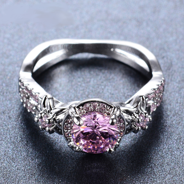 White Gold Filled Pink Sapphire September Birthstone Ring
