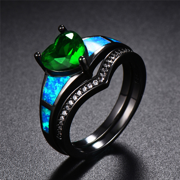 May Dual Set Black Gold Heart Birthstone Ring