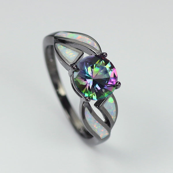 Mystic Fire Opal accented October Birthstone ring
