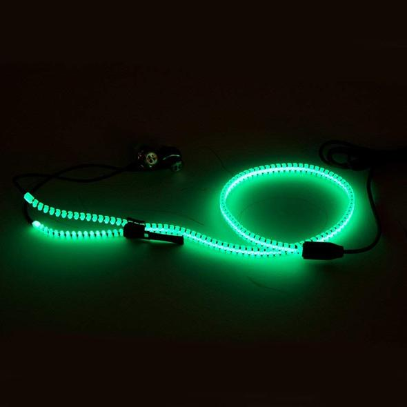 Metal Zipper In-ear Earphones Luminous Light Headset Stereo Handsfree With Mic
