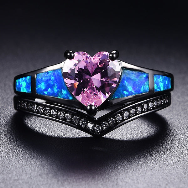 October Dual Set Black Gold Heart Birthstone Ring