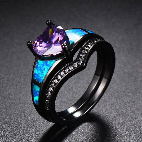 February Dual Set Black Gold Heart Birthstone Ring