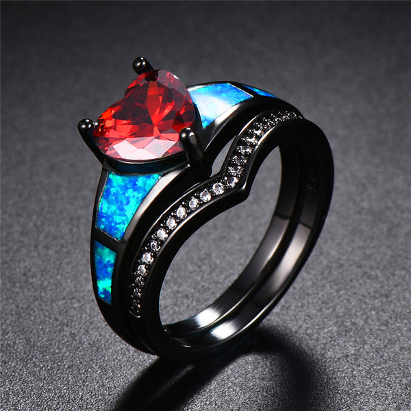July Dual Set Heart Black Gold Filled Birthstone Ring