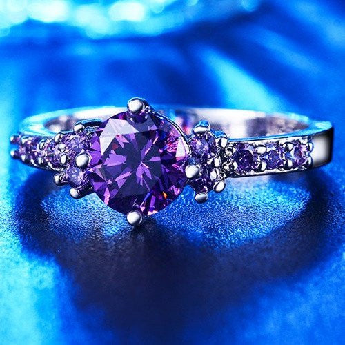 February Purple Amethyst Birthstone Ring