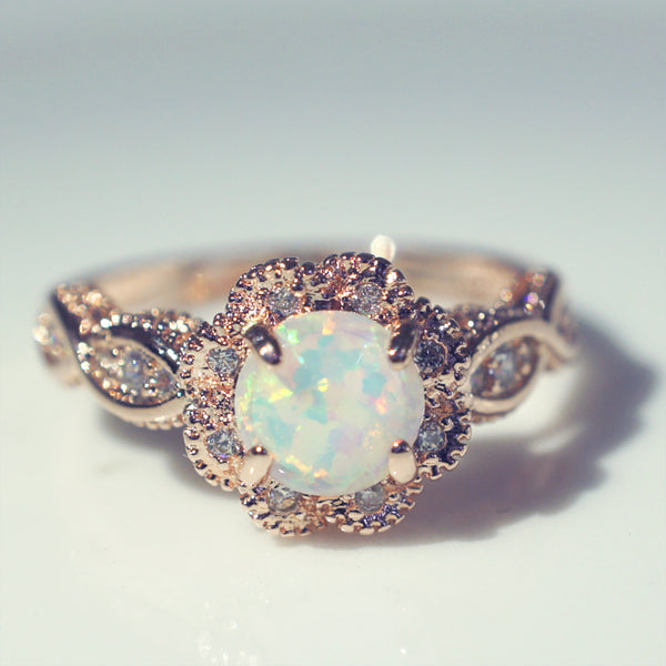 Vibrant Opal & Rose Gold Ring