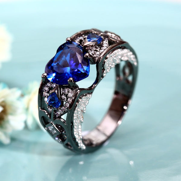 September Angelwing Heart Birthstone Ring