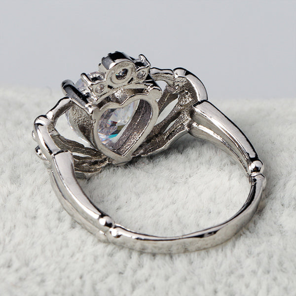 Skeleton Hands Holding Heart Claddagh Ring