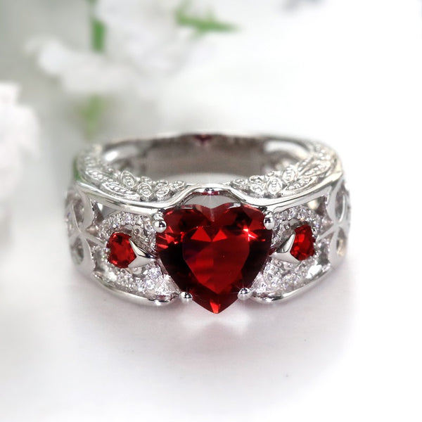 Angelwing Heart Birthstone Ring (July Birthstone)