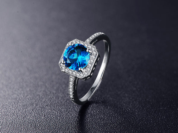 March Birthstone Square Ring