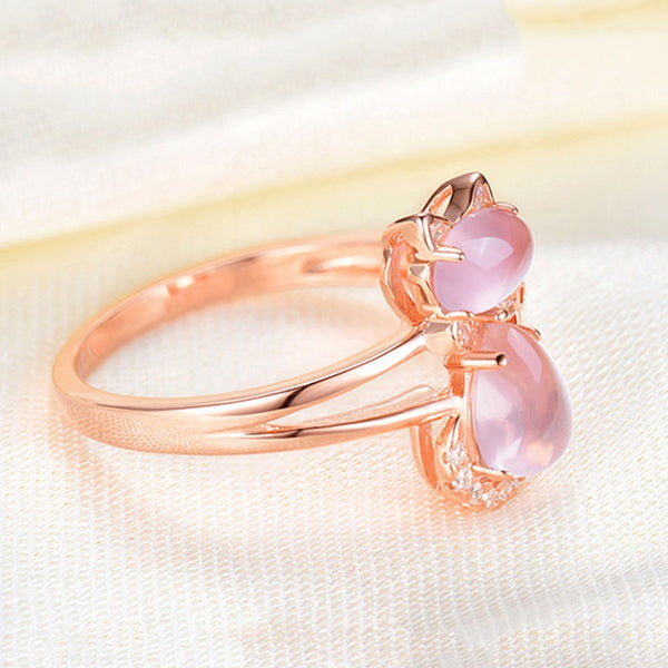 Pink Opal Cat Ring