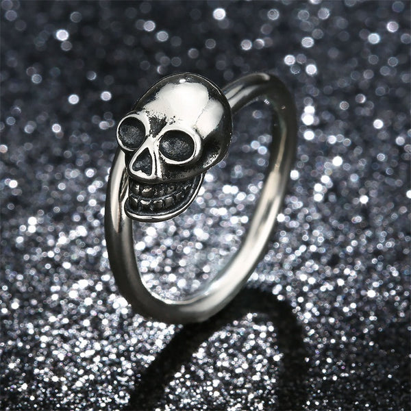 Adjustable 925 Sterling Silver Skull Ring (Unisex)