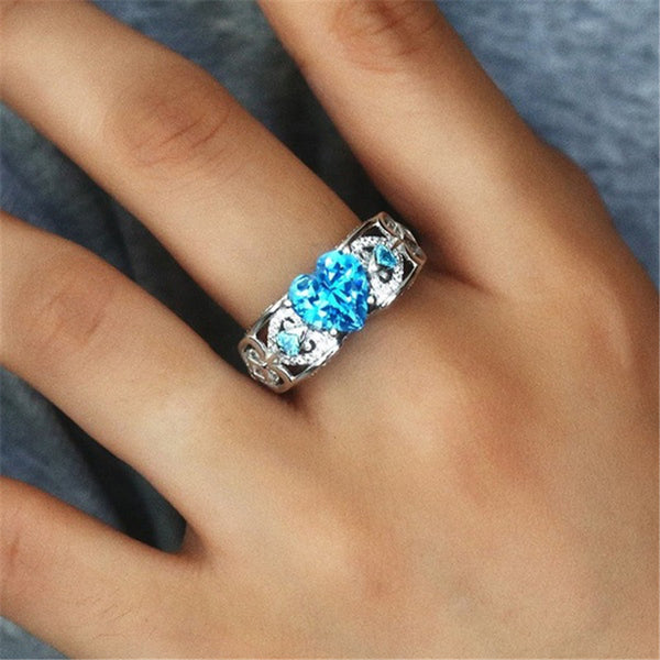 March White Gold Filled Heart Birthstone Ring