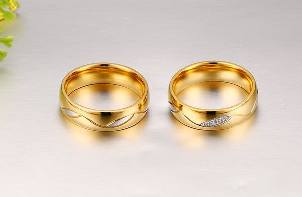 Lovers' Stainless Steel CZ Distance Rings