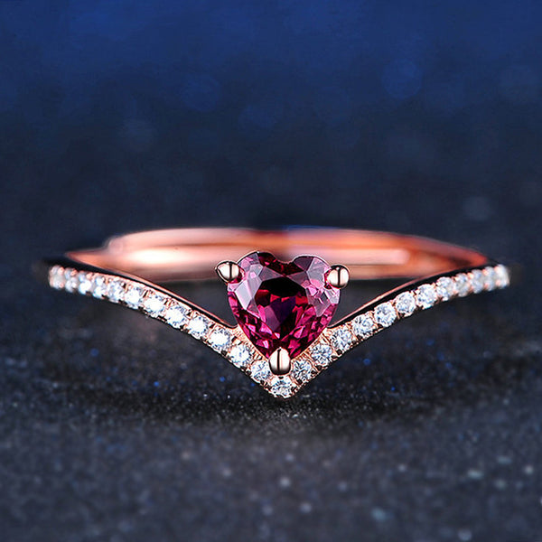 Rose Gold Plated 925 Sterling Silver January Birthstone Tiara Heart Ring