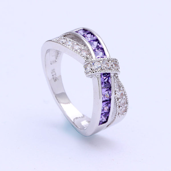 February Birthstone Amethyst Cross-finger Ring