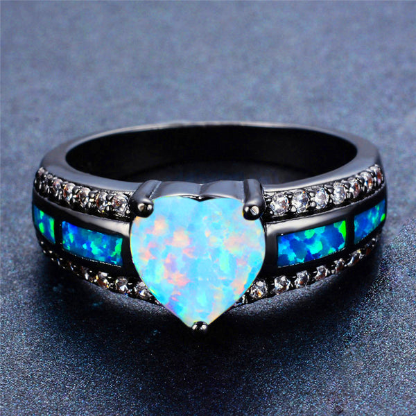 October Birthstone Opal Heart Ring