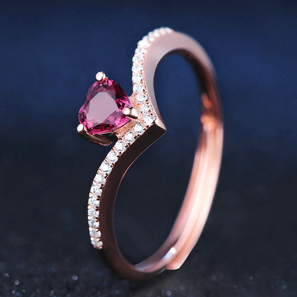 Rose Gold Plated 925 Sterling Silver July Birthstone Tiara Heart Ring