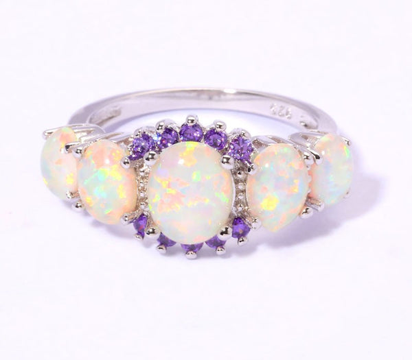 October Birthstone White Fire Opal & Amethyst Ring