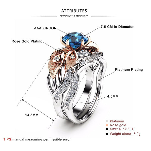 Floral Dual Set September Birthstone Ring