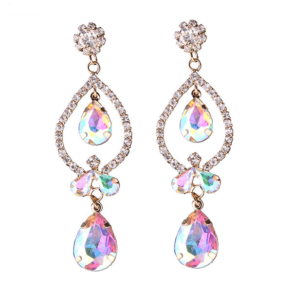 Rainbow Topaz Droplet Earrings