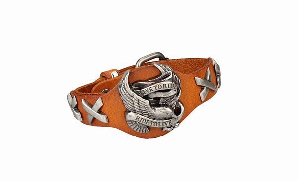 Unisex Live To Ride, Ride to Live Leather Bracelet