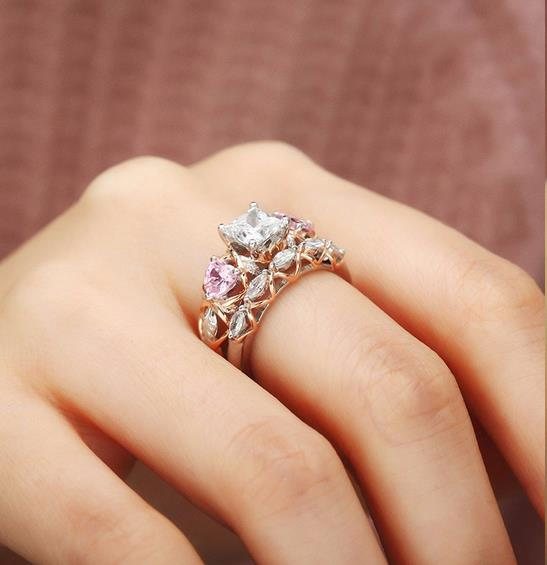 Dual Set April Birthstone Ring