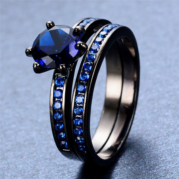 Double Ring Set Round Black (Blue Sapphire)
