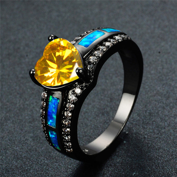 November Birthstone Yellow Topaz Heart Ring