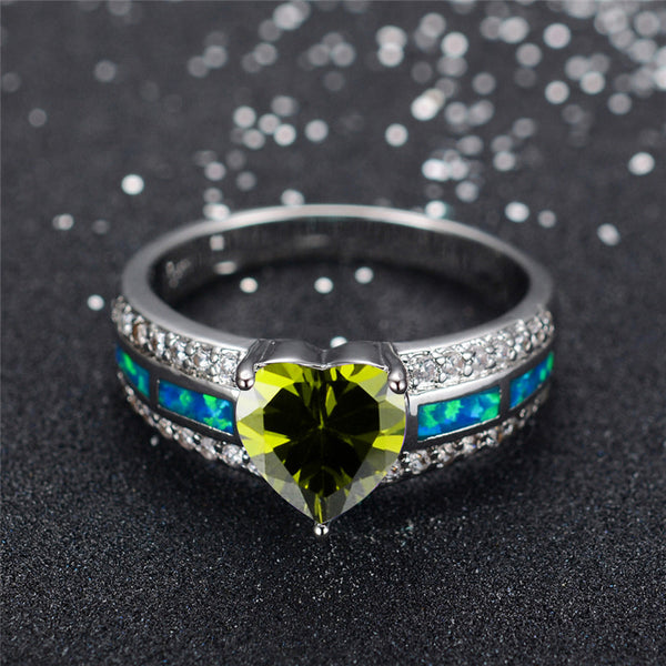 August  Black Gold Filled Heart Birthstone Ring