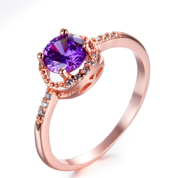 February Gold Birthstone Ring