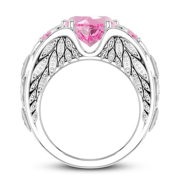 October Angelwing White gold Heart Birthstone Ring