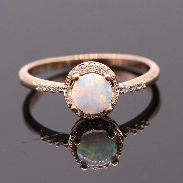 October Birthstone Opal & Gold Ring