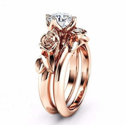 Rose Gold Floral April Birthstone Ring