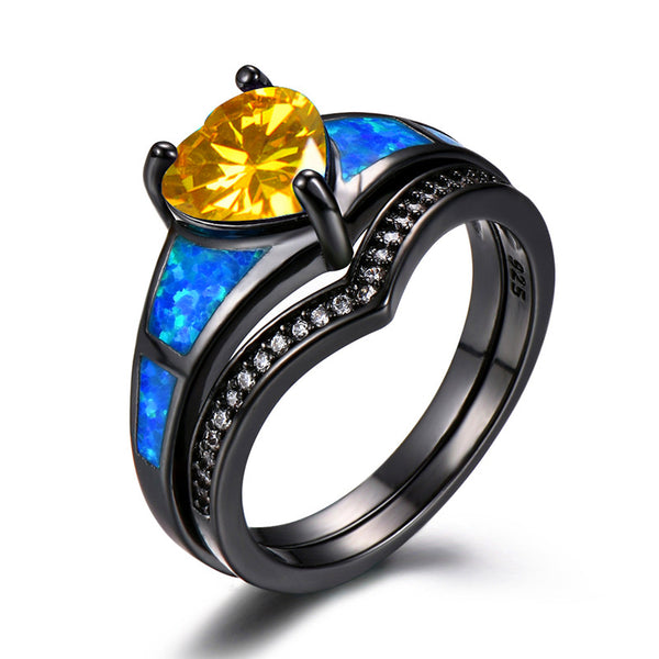 November Yellow Topaz Dual Set Heart Ring