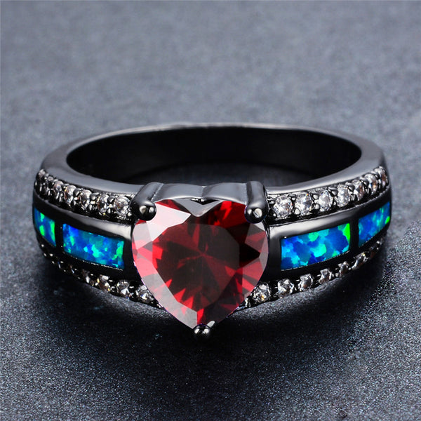 July Black Gold Filled Heart Birthstone Ring